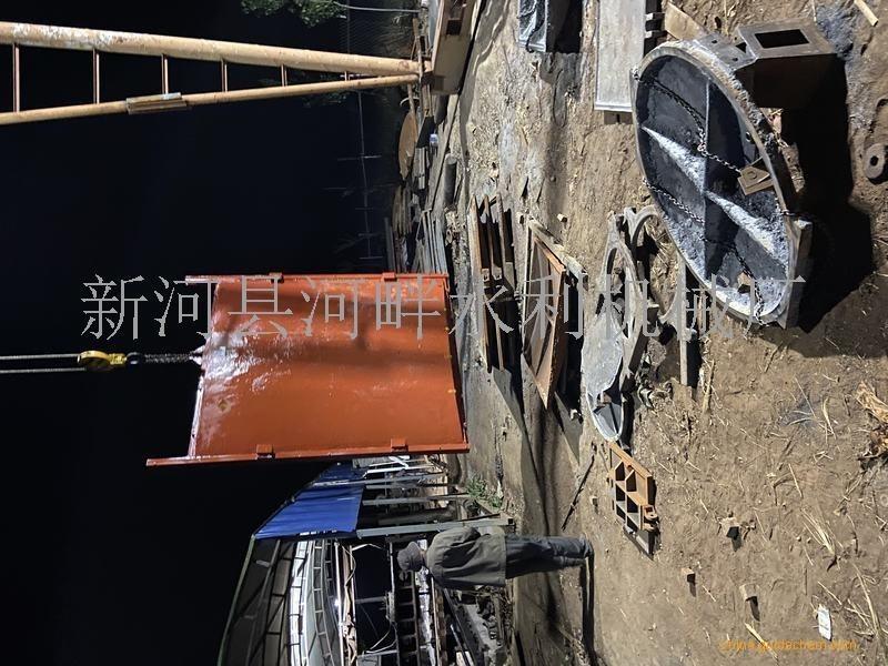 嘉兴0.8米*0.6米机闸一体式铸铁闸门配套1T侧摇式启闭机