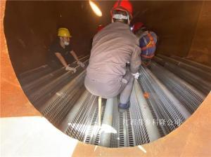 江西萍乡科隆填料塔内件公司安装队正在山西焦化项目现场专业安装直径4000驼峰支撑
